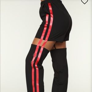 FASHION NOVA Red&Black cut out pants NWT Size: S